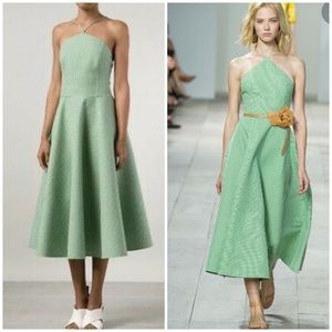 Michael Kors Collection green gingham flared dress